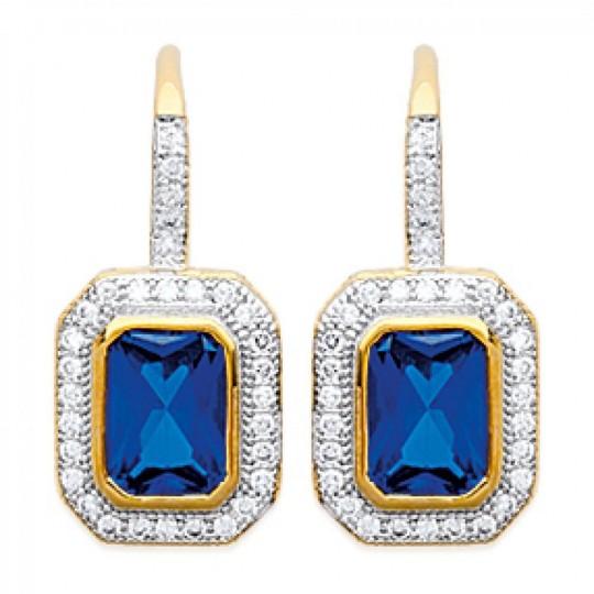Dormeuses Pierres Bleues Brillantes Art déco Luxe Gold...