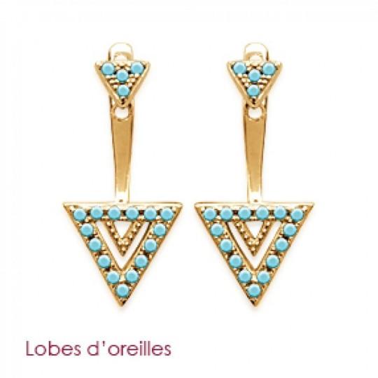 Boucles d'Oreilles Triangles pierre d'imitation Bleue turquoise Sous lobe Plaqué Or
