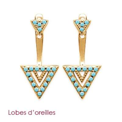 Earrings Triangles pierre d'imitation Bleue turquoise...