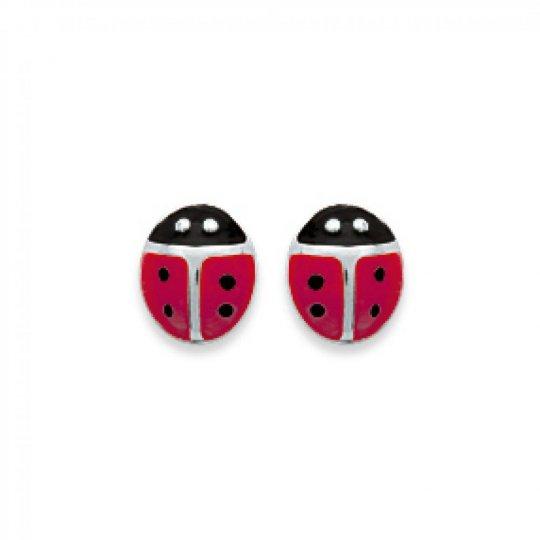 Boucles d'oreilles puces Coccinelles Rouges Argent - Enfant Femme