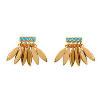 Earrings Petalled & pierres Bleues Turquoise Gold plated 18k