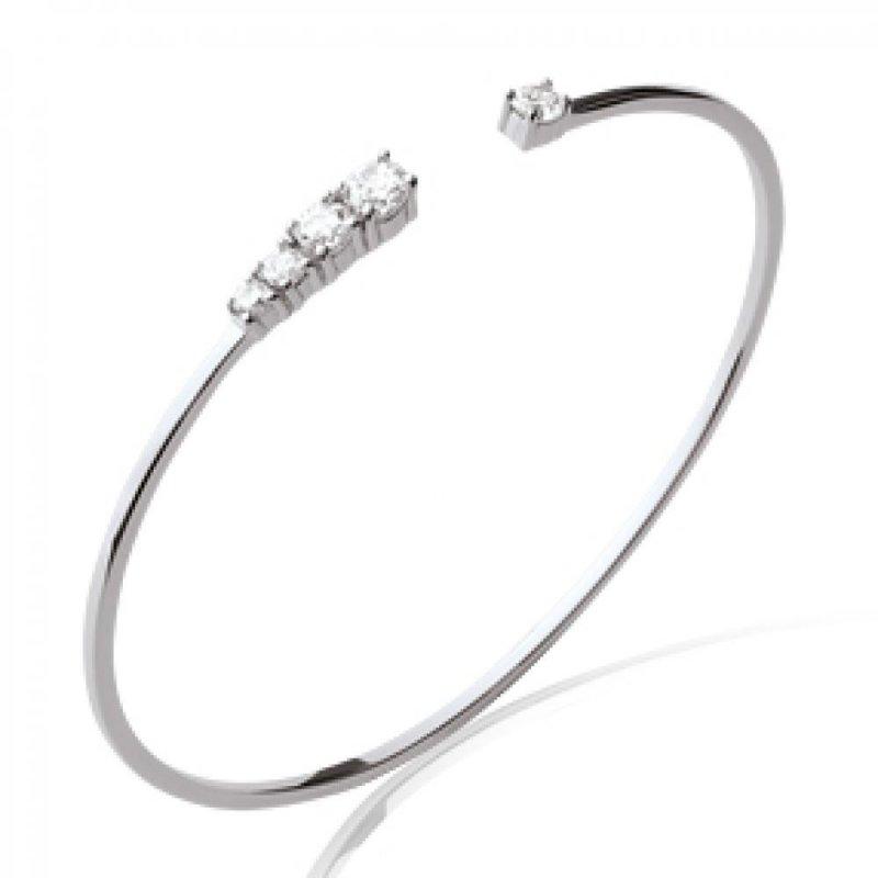 Armband chic 925 Sterling Silber rhodiniert - Kubisches Zirkonoxid - 56mm