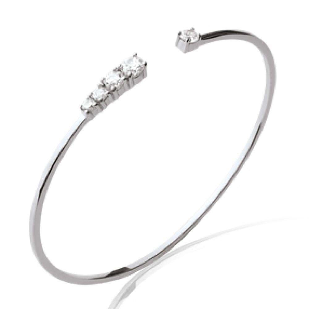 Bangle chic Rhodium plated Sterling Silver - Cubic Zirconia - 56mm