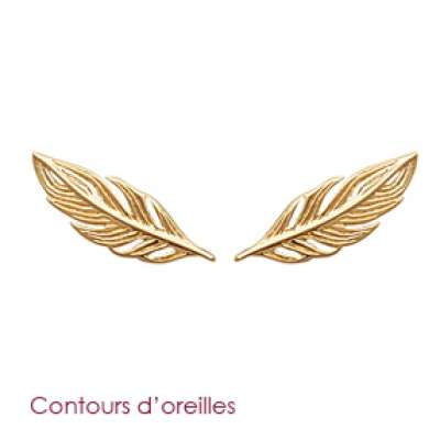 Earrings Feathers Grimpantes Gold plated 18k - Women