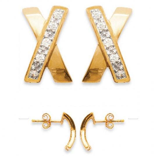 Ohrringe Kreuz Bicolor Vergoldet 18k - Kubisches Zirkonoxid