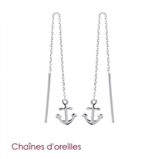 Boucles d'Oreilles Ancre marine chaîne traversante Argent...
