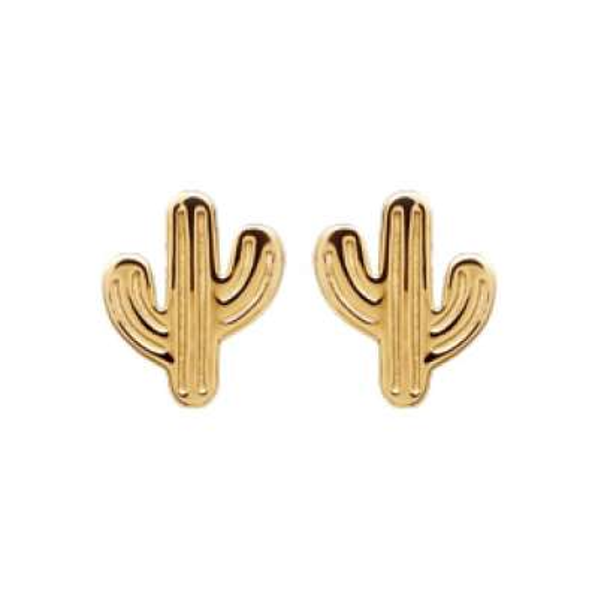 Boucles d'oreilles puces Cactus Mexique Plaqué Or - Femme