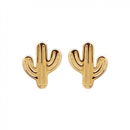 Pendientes puces Cactus Mexique Chapado en Oro 18K - Mujer