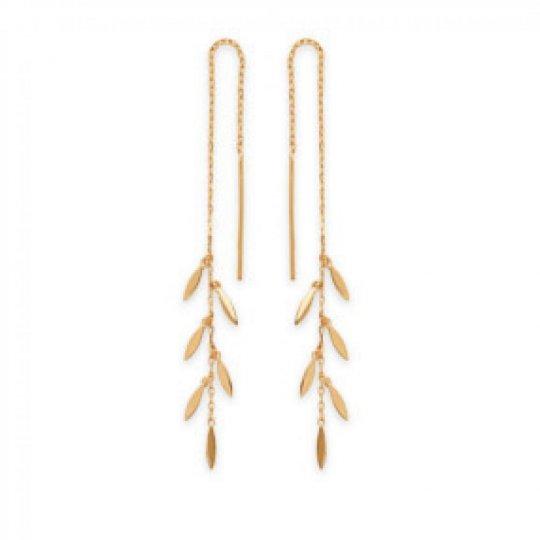 Earrings Bay leaf Traversantes Gold plated 18k - Women