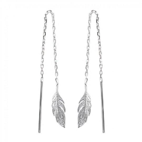 Earrings Feathers Traversantes Argent Rhodié - Women