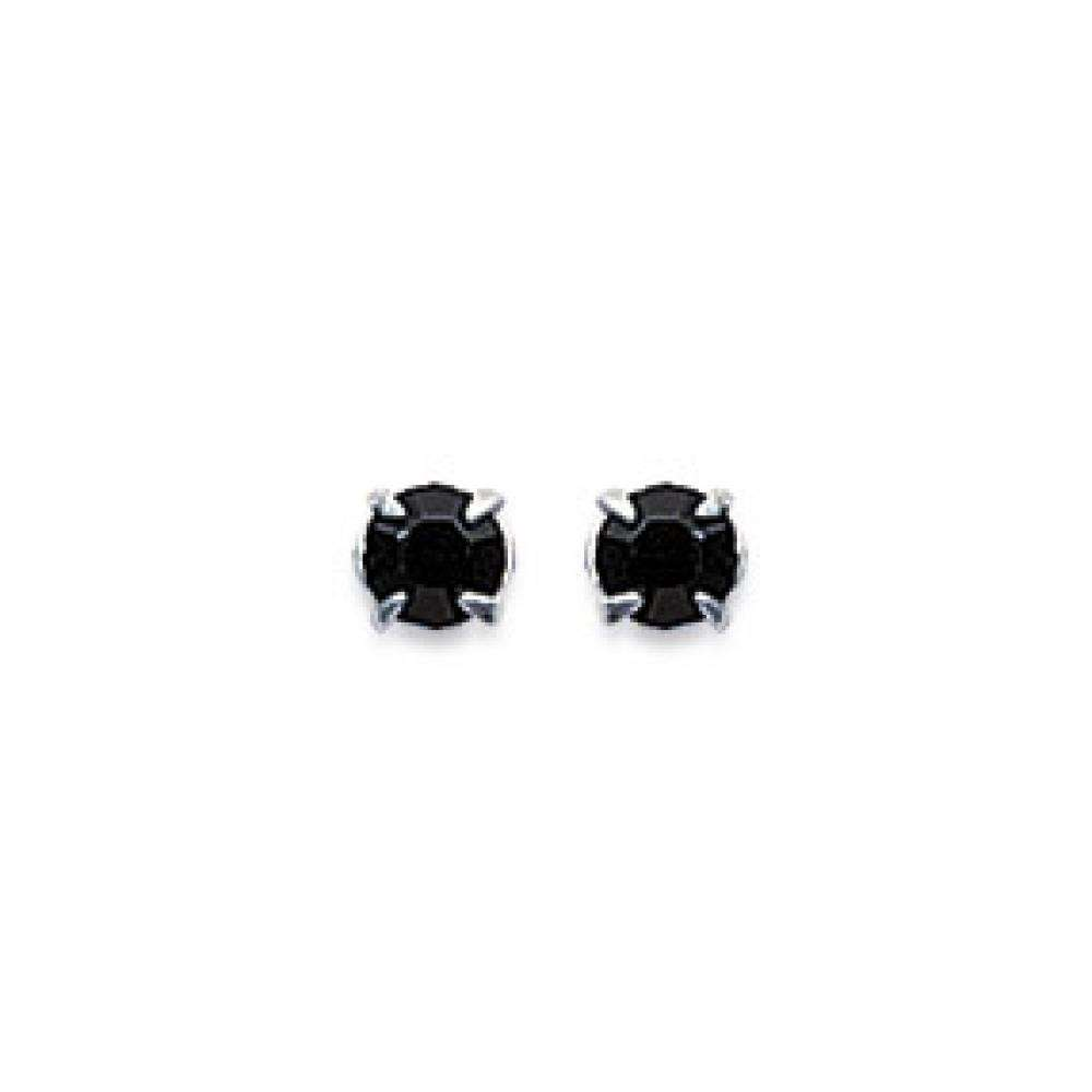 Earrings puces Tiges Argent - Crystal Black - Women