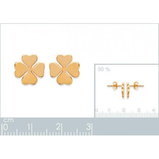 dba1f56d6df6 Pendientes Dormilonas Trébol de 4 hojas Amuleto de la suerte Mujer Chapado  en Oro 18K Cadeau pour une amie