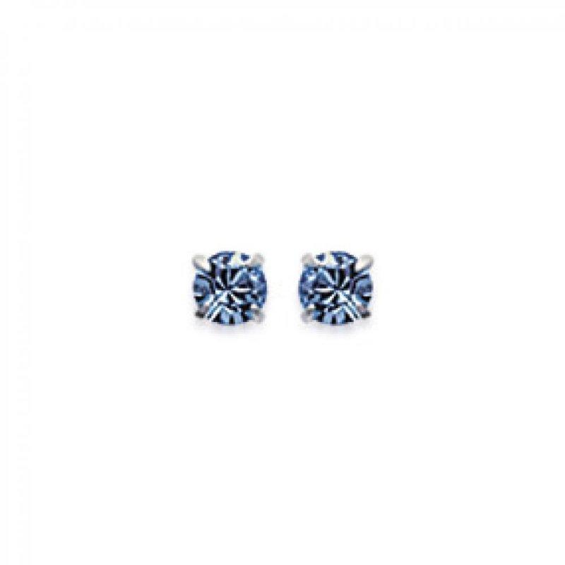Earrings puces Tiges Argent - Crystal Bleu - Women