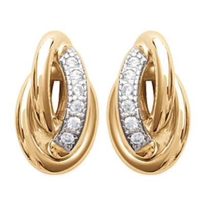 Earrings Noeud Antillais Gold plated 18k - Cubic Zirconia