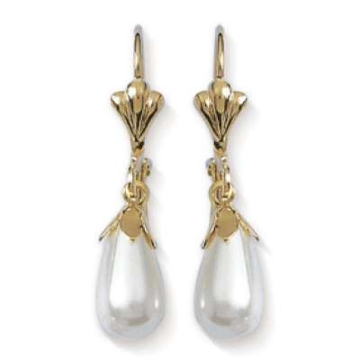 Earrings Sirène Longue Pearl  Coquillage Gold plated 18k...