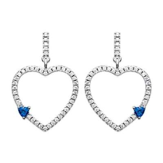 Boucles d'oreilles Coeur brillant pierre bleu d'imitation Argent rhodié