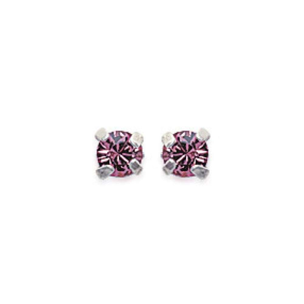 Earrings puces Tiges Argent - Crystal Rose - Women