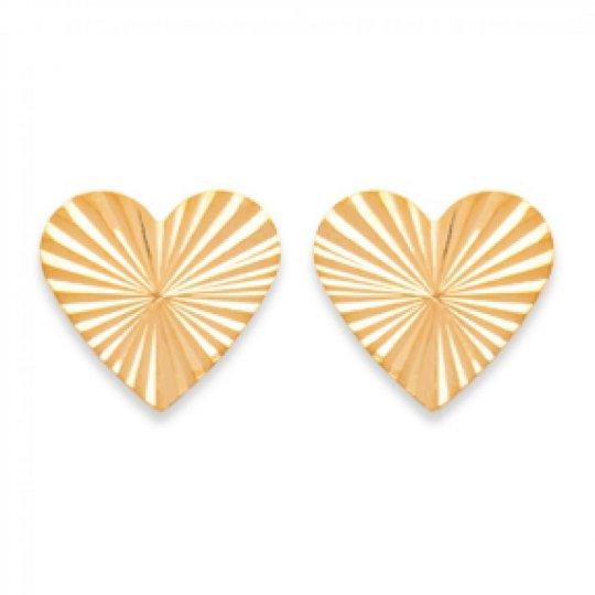 Boucles d'oreilles puces Coeur Rayons de soleil Reflets Plaqué Or