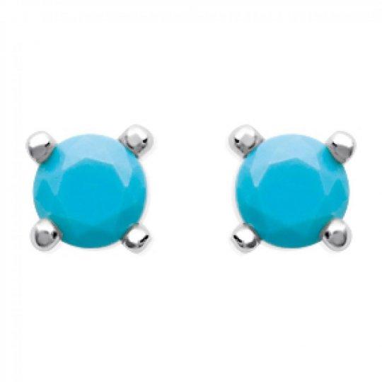 Boucles d'oreilles puces pierre d'imitation Bleue turquoise Argent Rhodié