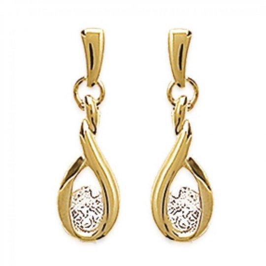 Earrings Flammes  Gold plated 18k - Zirconium