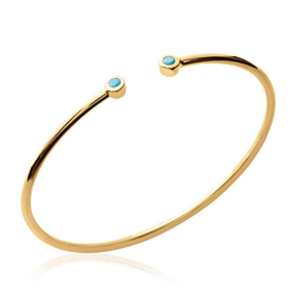 Bracciale Bangle Simple Placcato in oro 18k - Pierres bleues turquoises - 56mm