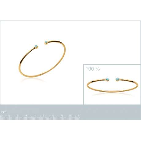Bracciale Bangle Simple Placcato in oro 18k - Pierres d'imitation bleues turquoises - 56mm