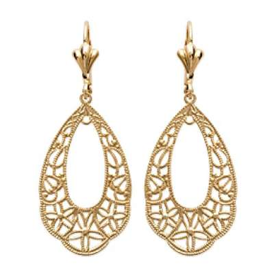 Earrings Flowers Dormeuses Coquillage Sirène Gold plated 18k