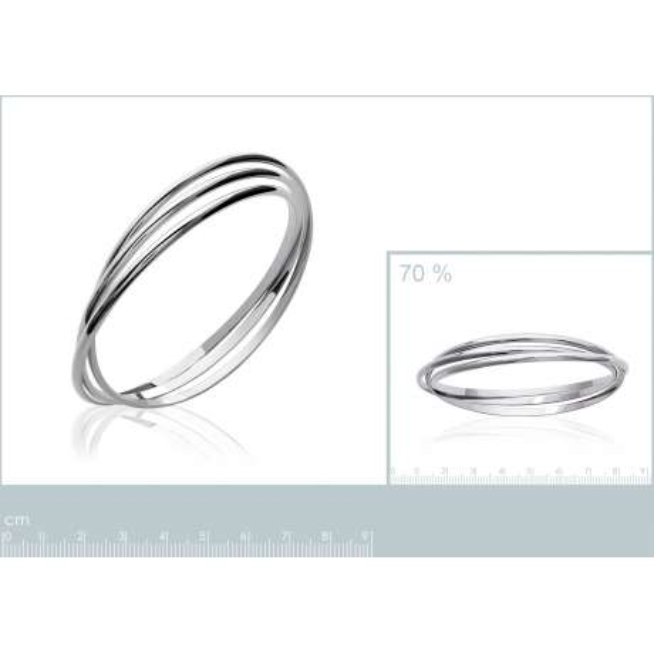 Jonc Triple anneaux fins Argent Rhodié - Femme - 66mm