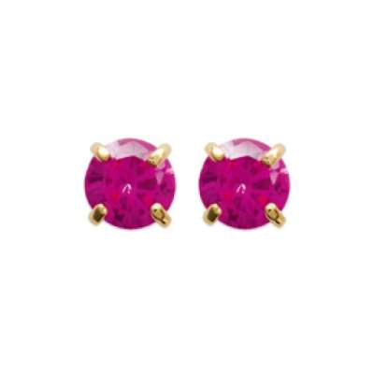 Earrings puces Pierre couleur rouge clous Gold plated 18k