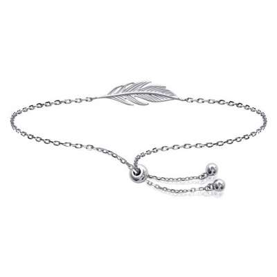Bracelet réglable Feathers Rhodium plated Sterling Silver...