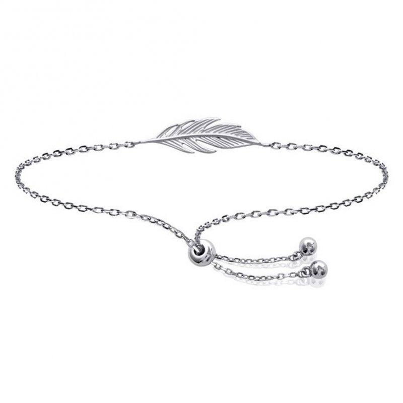 Bracelet réglable Plumes Argent Massif Rhodié - Femme - 25cm