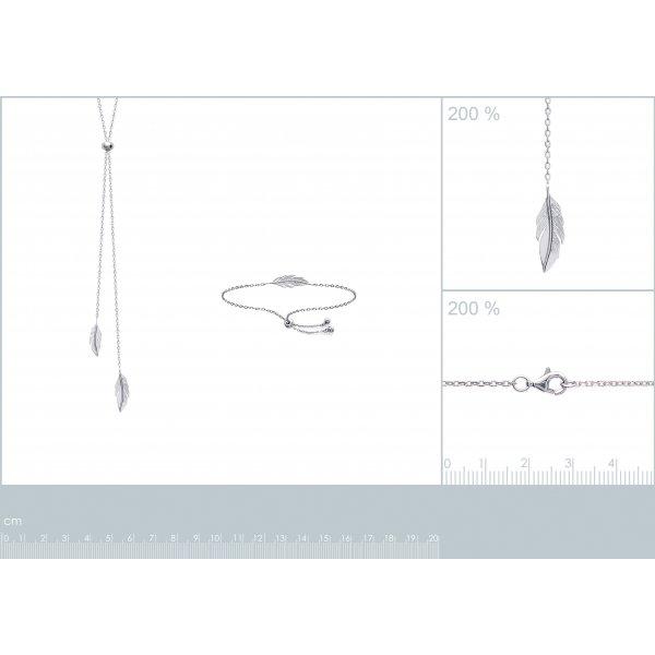 Bracciale réglable Piumas Argento Sterling 925 Rodiato - Donna - 25cm