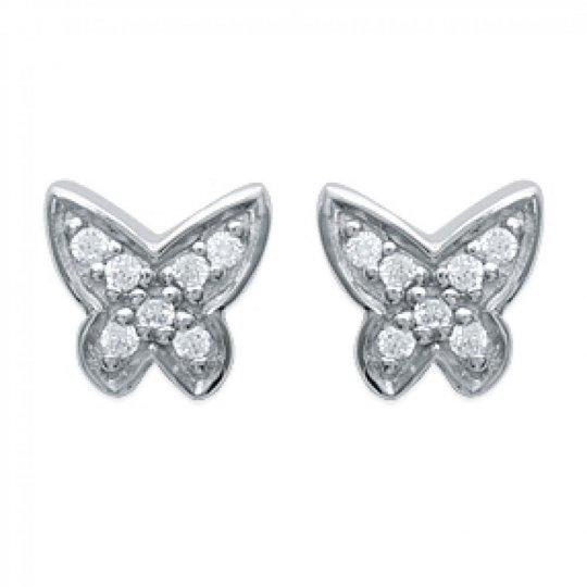 Boucles d'oreilles puces Papillon Étincelant Argent Rhodié - Zirconium