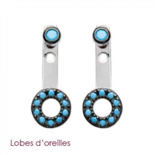 Boucles d'oreilles sous lobe argent rond noir et pierre d'imitation turquoise - Rhodié