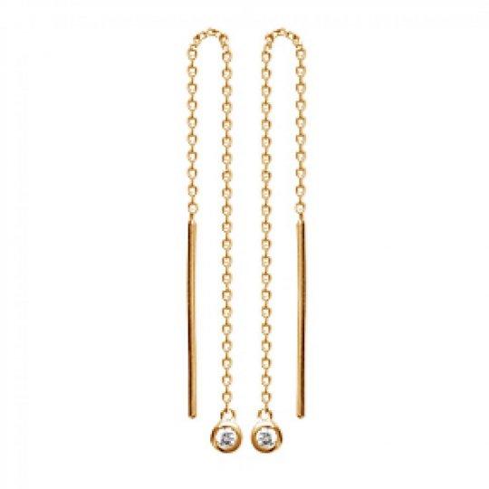 Earrings Solitaire sertis Clos Chaine Traversante Gold...