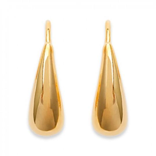 Earrings Crochets Water drop Allongée Gold plated 18k -...