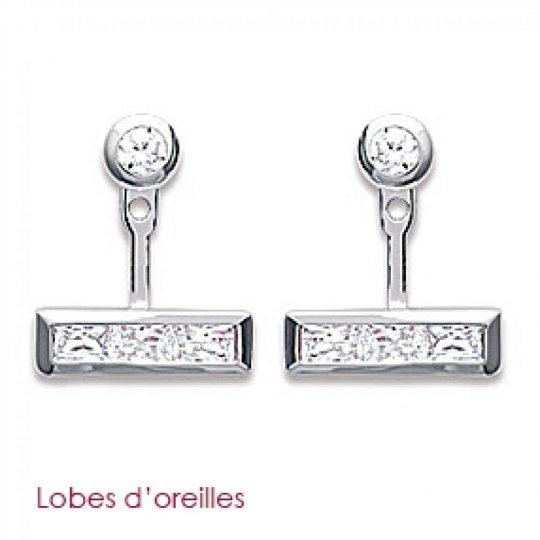 Earrings sous lobe argent barre - Rhodié - Zirconium