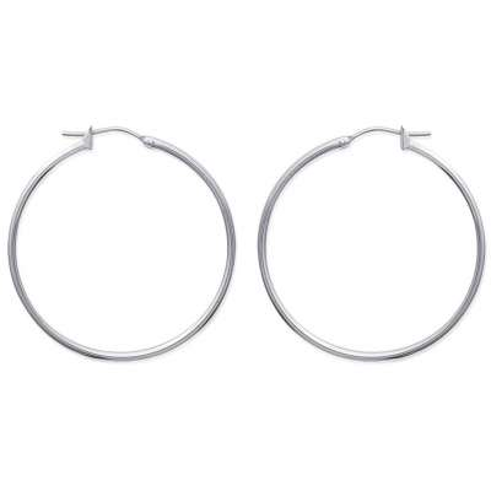 Hoop Earrings Traditionnelles 40mm Acier 316L - Fermoir à...