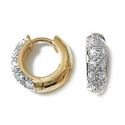 Petites Hoop Earrings strass Gold plated 18k - Zirconium...