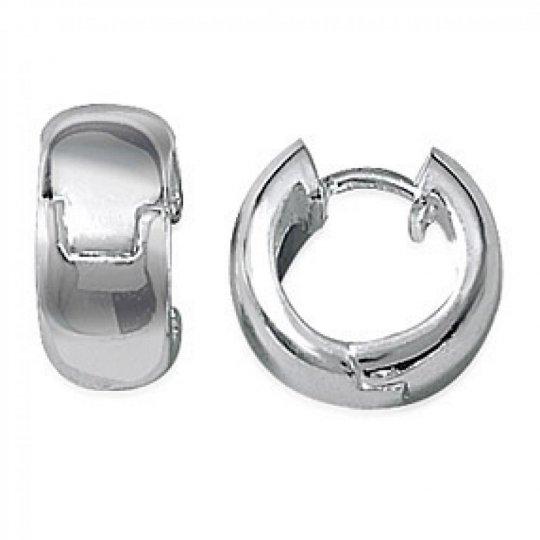 Petites Hoop Earrings Argent Rhodié Larges 8x16mm -...