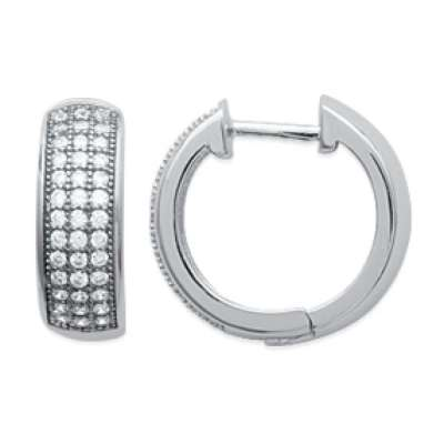 Hoop Earrings Strass épaisses Argent 17mm - Fermoir...