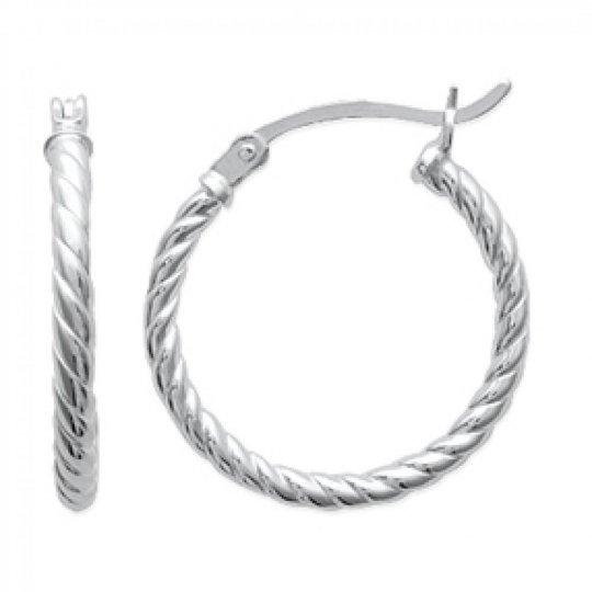 Hoop Earrings Torsadées Argent 20mm - Fermoir à clips