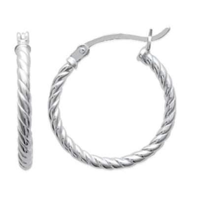 Hoop Earrings Torsadées Argent 20mm