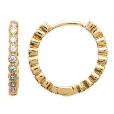 Hoop Earrings Strass Gold plated 18k - Fermoir Charnière...