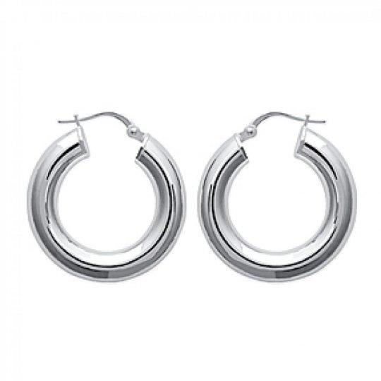 Hoop Earrings épaisses Argent Rhodié 5x25mm