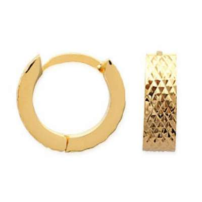 Hoop Earrings Gold plated 18k Martelées avec reflets 12mm...