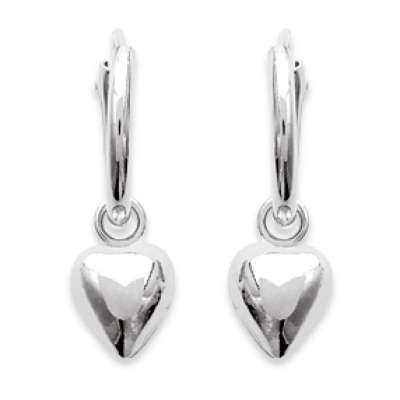Petites Hoop Earrings Breloque Hearts Argent 12mm - Women