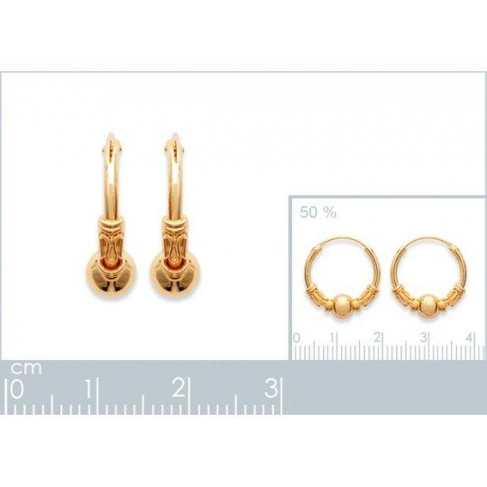 Hoop Earrings of Bali Gold plated 18k Tribales 16mm - Women