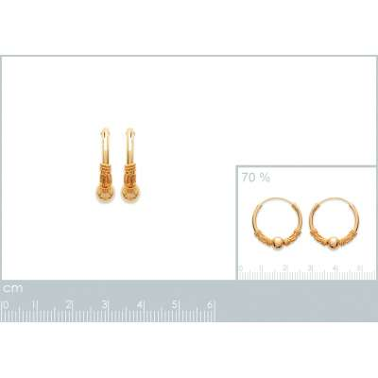 Hoop Earrings of Bali Tribales Gold plated 18k 20mm - Women