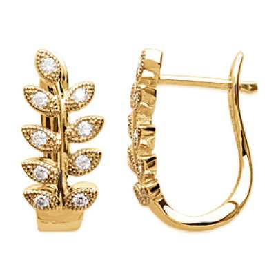 Hoop Earrings Bay leaf avec pierres Gold plated 18k 20mm...